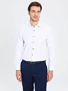 Slim Fit Uzun Kollu Armürlü Gömlek