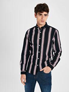 Ekstra Slim Fit Çzgili Uzun Kollu Oxford Gömlek