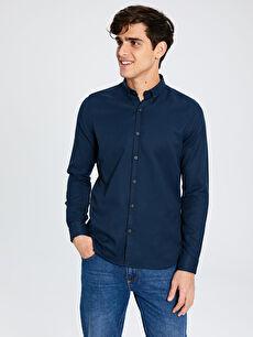 Ekstra Slim Fit Armürlü Gömlek