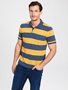Polo Yaka Kısa Kollu Çizgili Pike Tişört