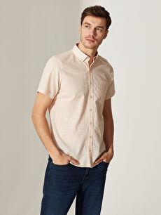 Slim Fit Kısa Kollu Poplin Erkek Gömlek