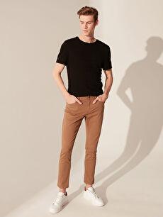Kahverengi Ekstra Dar Kalıp Gabardin Erkek Chino Pantolon