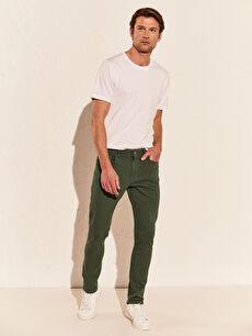 Yeşil Ekstra Dar Kalıp Gabardin Erkek Chino Pantolon