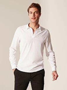 Beyaz Slim Fit V Yaka Gömlek