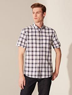 Regular Fit Short Sleeve Chequered Poplin Shirt