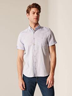 Mavi Slim Fit Kısa Kollu Armürlü Gömlek