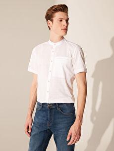 Slim Fit Kısa Kollu Poplin Gömlek
