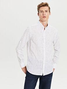 Regular Fit Desenli Uzun Kollu Poplin Gömlek