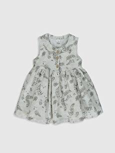 Kız Bebek Desenli Poplin Elbise  Aile Kombini