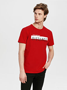 Kırmızı Bisiklet Yaka Baskılı Penye Tişört