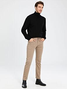 Kahverengi Regular Fit Gabardin Pantolon