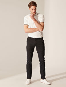 Slim Fit Poliviskon Pantolon
