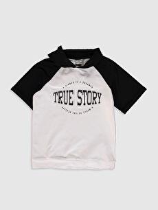 Aile Koleksiyonu Erkek Çocuk Yazı Baskılı Kapüşonlu Sweatshirt