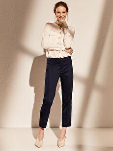 Bilek Boy Düz Paça Kumaş Pantolon