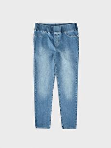 Mavi Beli Lastikli Bilek Boy Düz Paça Jean Pantolon