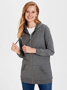 Düz Kapüşonlu Uzun Kollu Kadın Sweatshirt