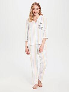 Gömlek Yaka Baskılı Uzun Kollu Viskon Kadın Pijama Takımı