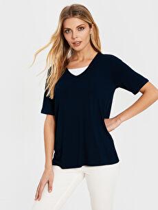 Yaka Detaylı Viskon Basic Tişört