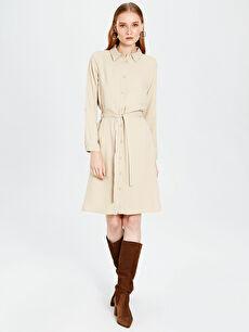 Kuşaklı Viskon Gömlek Elbise