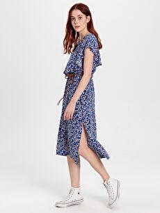 Fırfır Detaylı Desenli Kemerli Elbise
