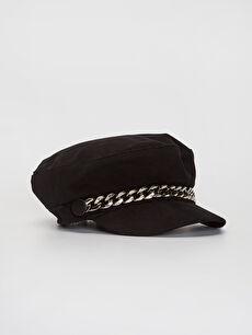 Zincir Detaylı Gabardin Denizci Şapka
