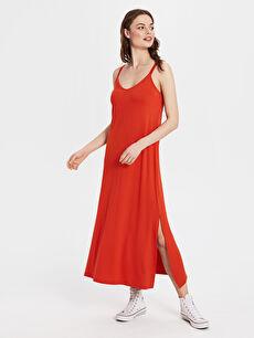 Yırtmaç Detaylı Viskon Uzun Salaş Elbise