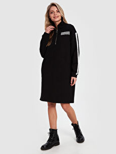 Aile Koleksiyonu Şerit Detaylı Fermuarlı Elbise