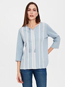 Mavi Nakışlı Kısa Kollu Tişört