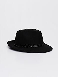 Zincir Detaylı Süet Fötr Şapka