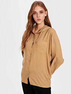 Kapüşonlu Viskon Gömlek