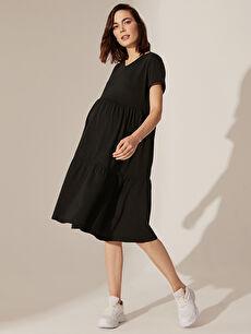 Fırfır Detaylı Pamuklu Hamile Elbise