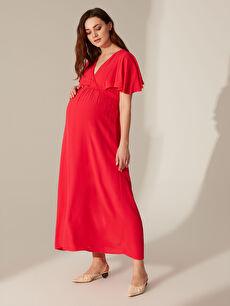 Kolları Volanlı Uzun Viskon Hamile Elbisesi