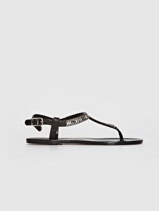 Siyah Kadın Parmak Arası Taş Detaylı Sandalet