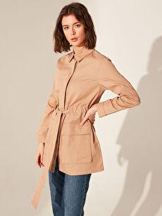 Kuşaklı Cep Detaylı Ceket