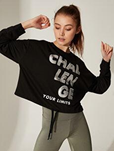 Aktif Spor Baskılı Crop Sweatshirt