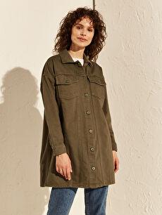 Düğme Detaylı Oversize Jean Ceket