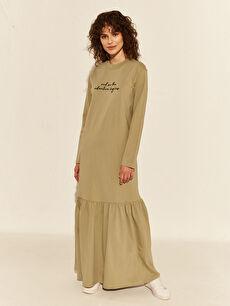 Slogan Basklı Pamuklu Uzun Elbise