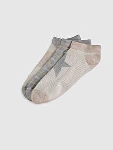 Kahverengi Desenli Patik Çorap 3'lü