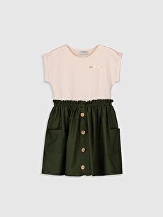 Kız Çocuk Düğme Detaylı Pamuklu Elbise