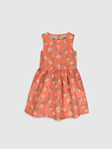 Kız Çocuk Baskılı Poplin Elbise