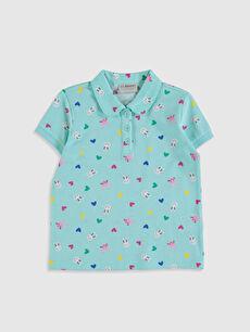 Kız Çocuk Baskılı Pamuklu Polo Yaka Tişört