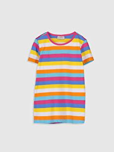Kız Çocuk Çizgili Pamuklu Basic Tişört