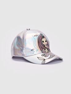 Gri Kız Çocuk Deniz Kızı Baskılı Hologram Şapka