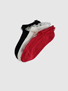 Kız Çocuk Dantelli Patik Çorap 3'Lü