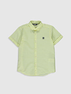 Sarı Erkek Çocuk Çizgili Poplin Gömlek