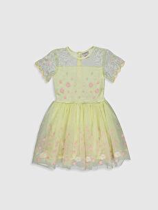 23 Nisan Kız Çocuk Nakışlı Tüllü Elbise