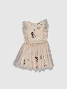 23 Nisan Kız Çocuk Çiçek Nakışlı Tüllü Elbise