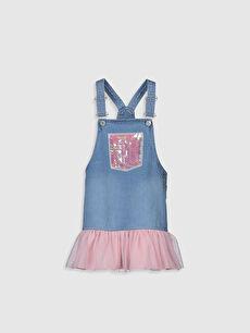 Kız Çocuk Pul İşlemeli Jean Salopet Elbise