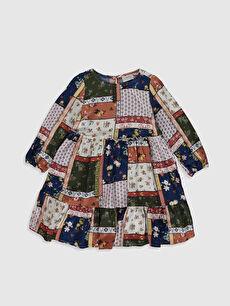 Kız Çocuk Desenli Viskon Elbise