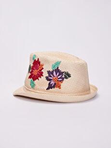 Kız Çocuk Çiçek Nakışlı Hasır Şapka